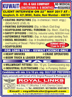 4-6 months Shutdown jobs in Kuwait