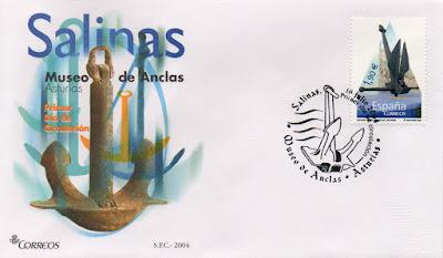 Sobre Primer Día de Circulación del sello dedicado al Museo de las Anclas de Salinas en 2004. Matasellos Primer Día de Salinas