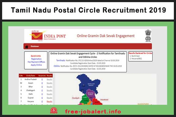 Tamil Nadu Postal Circle Recruitment 2019: Tamil Nadu Postal Circle 4442 Application for the post of Rural Postal Service (GDS) Invited