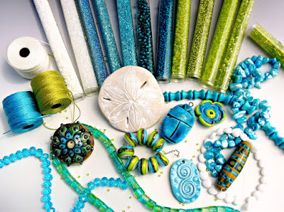 Caribbean colors palette in beads and cord.