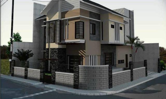 pagar rumah minimalis kombinasi batu alam