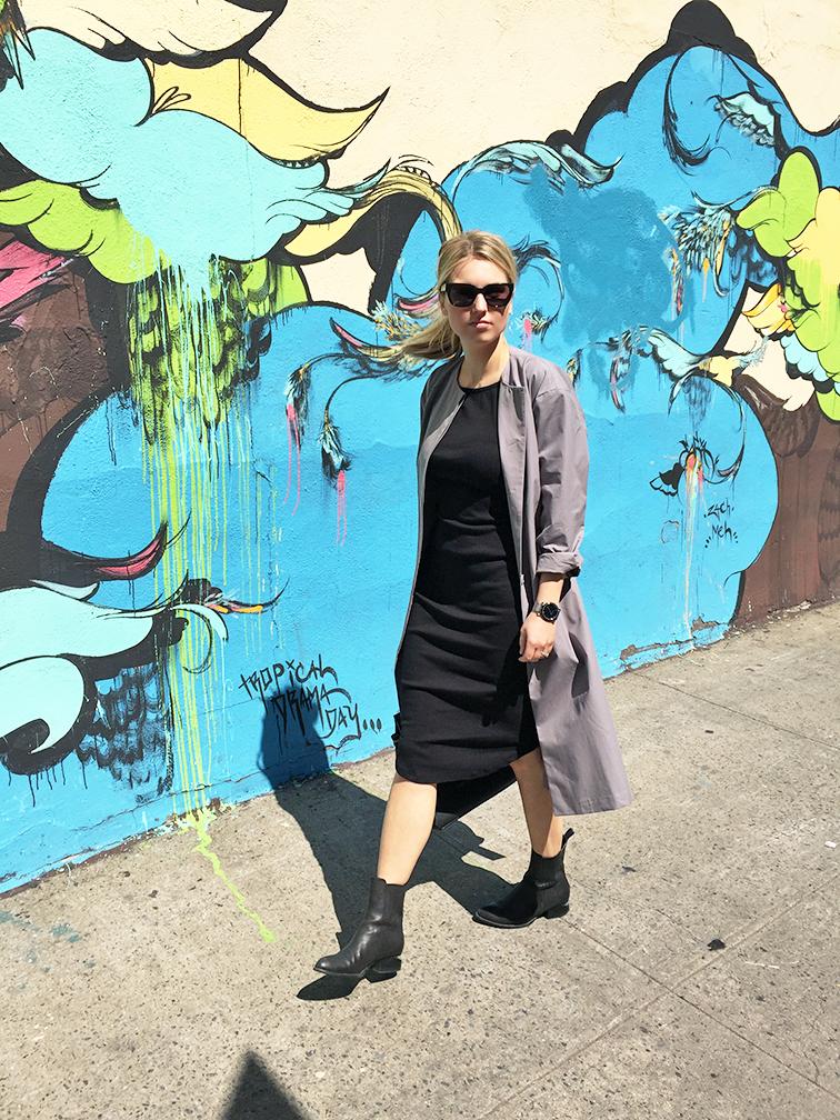heleneisfor Zady trench coat, Alexander Wang Anouck boots, Celine edge bag, Raen sunglasses