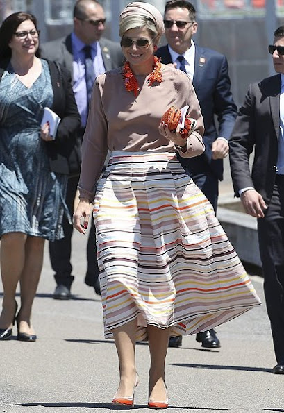 Queen Maxima wore Natan Skirt, dresses, Natan shoes, pumps, Natan Necklace, earrings
