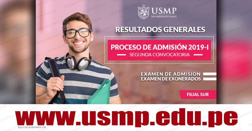Resultados USMP 2019-1 (Domingo 17 Marzo) Lista de Ingresantes Examen Admisión General y Exonerados - Segunda Convocatoria Filial Sur - Universidad de San Martín de Porres - www.usmp.edu.pe