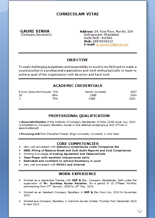 writing profile for cv