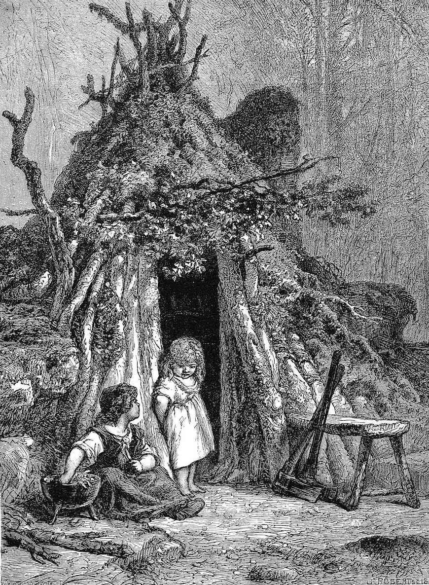 old rural France, an etching of children living in a poverty hut