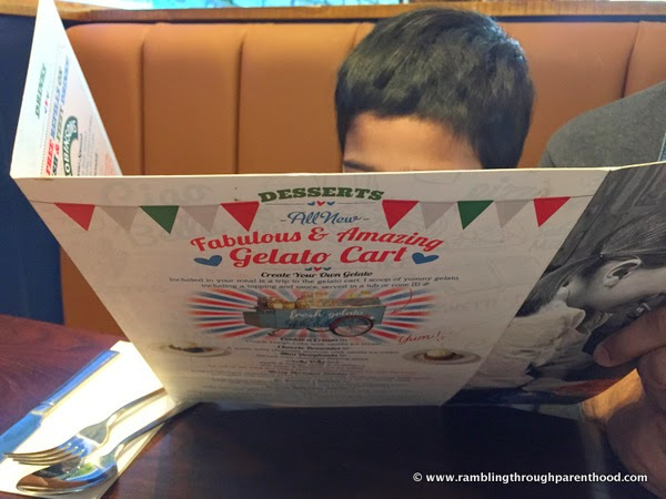 Pouring over the menu at Bella Italia, Didsbury