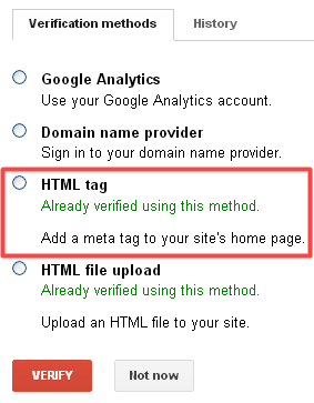 Webmaster Tools - Verify ownership