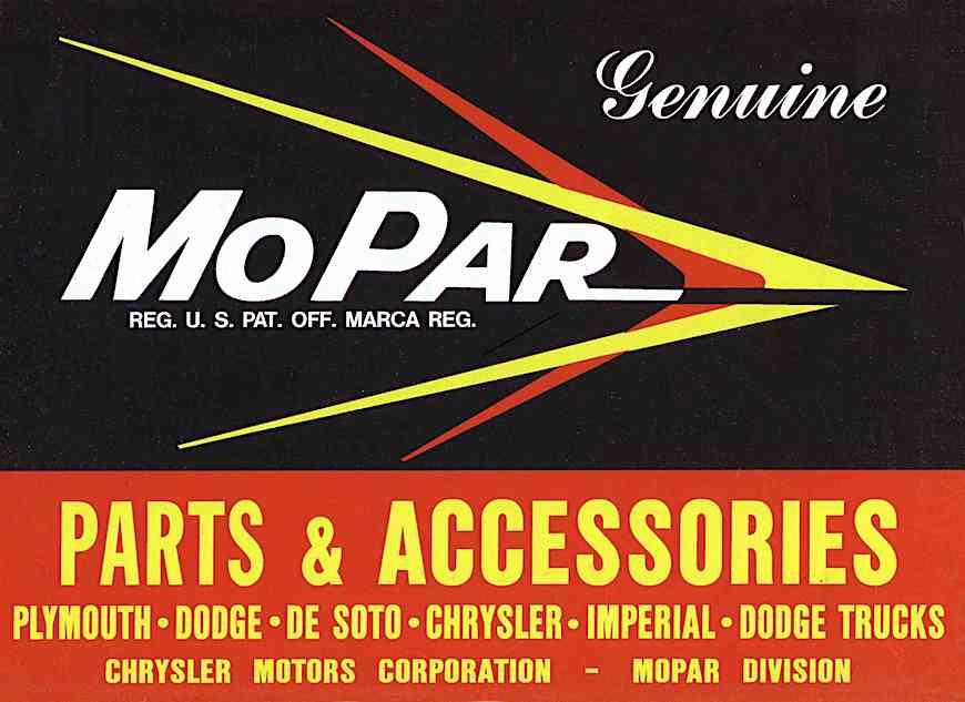 a MoPar car parts & accessories logo in color, jet age