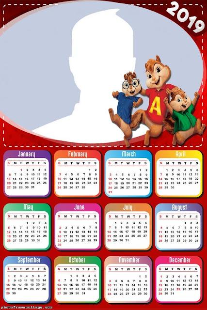 Calendario 2019 de Alvin y las Ardillas para Imprimir Gratis.