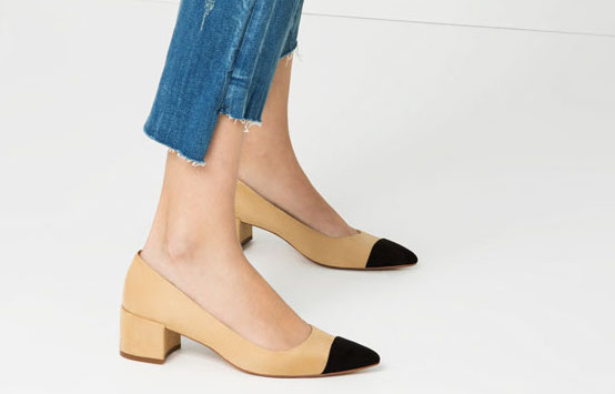 Nude Flats With Black Toe