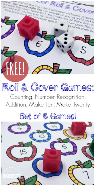 FREE Number Sense Roll and Cover 5-in-1 Math Games for Kindergarten and first grade.