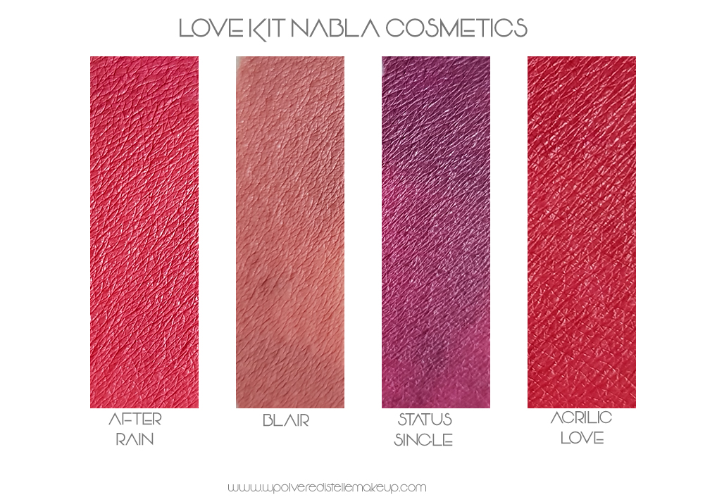 Rossetti liquidi opachi Nabla Love Kit swatches
