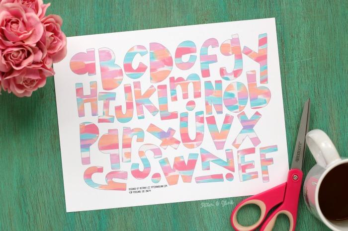 FREE Pink Smeared Wonky Alphabet
