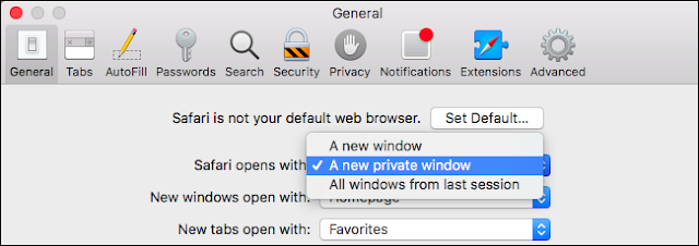safari set private browsing default