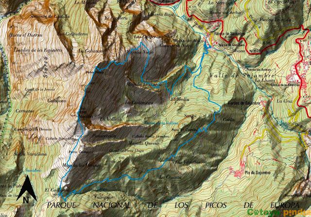 Mapa de la ruta detallado a Peña Niajo y el Pico Pozalón en Picos de Europa