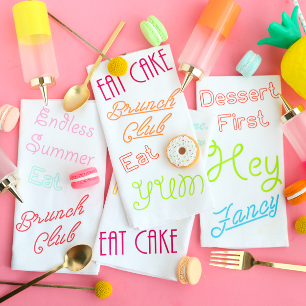 DIY Neon Sign Napkins using HTV (Heat Transfer Vinyl) and the Silhouette Cameo complete with free cut files - perfect for brunch or a dinner party - DIY Home decor colorful cloth napkins