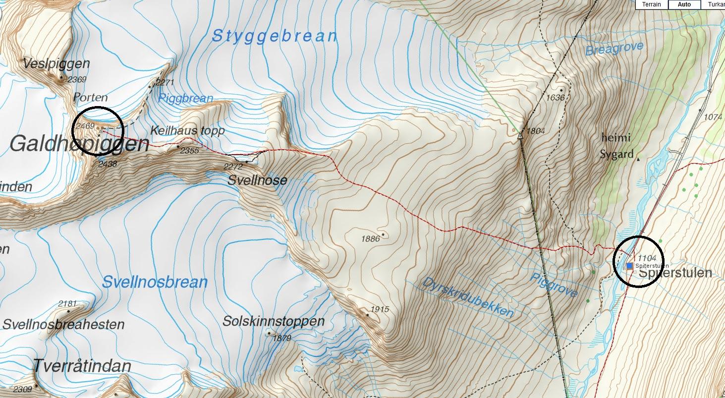 kart spiterstulen Mountain Trekking Norway: Galdhøpiggen fra Spiterstulen kart spiterstulen