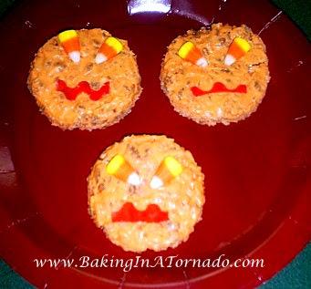 Rice Krispie Jack-O-Lanterns | www.BakingInATornado.com |  #Halloween #recipe