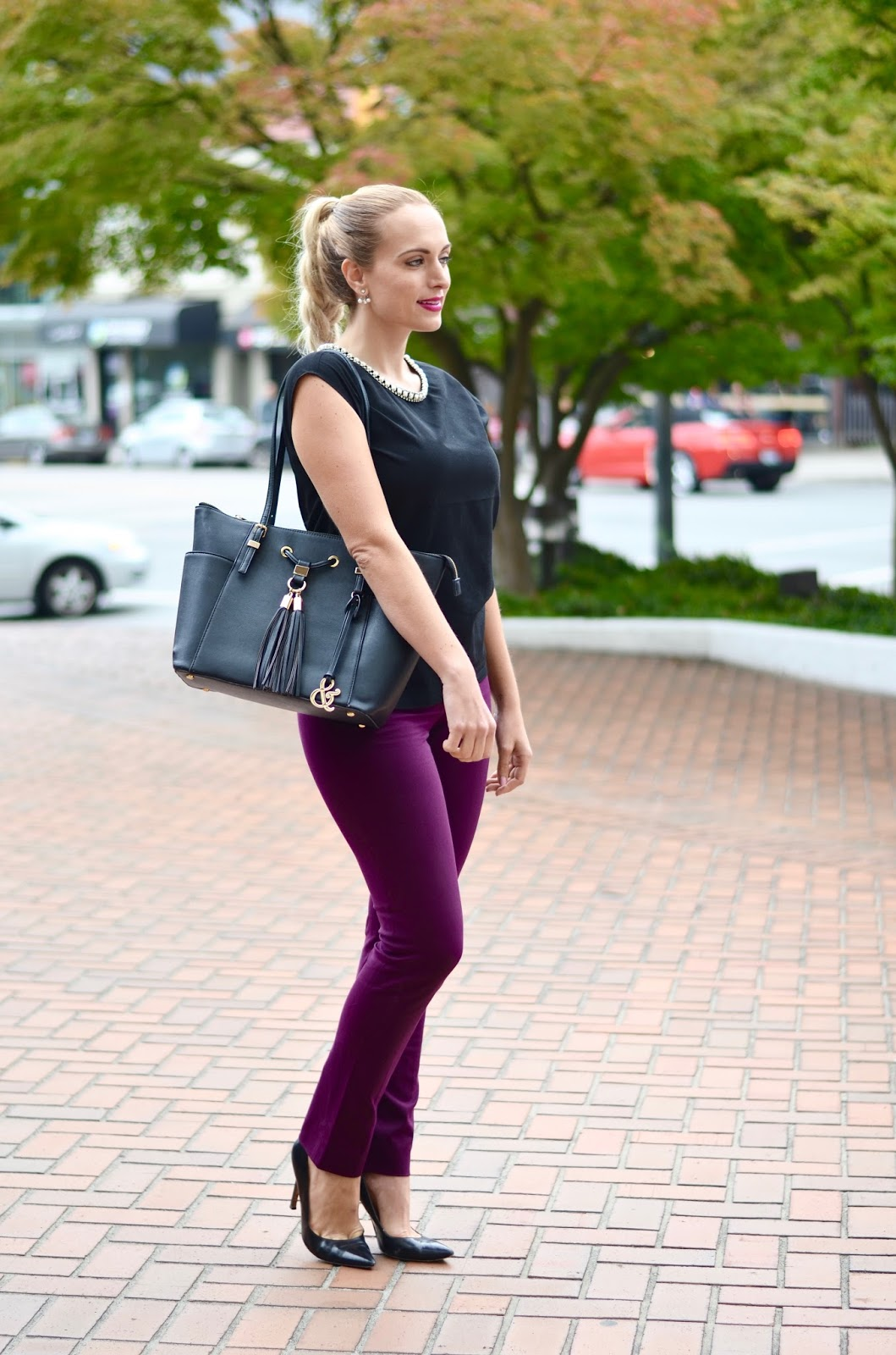 aubergine pants work outfit