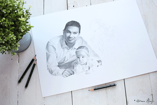 Proceso creativo de un retrato realista a lápiz