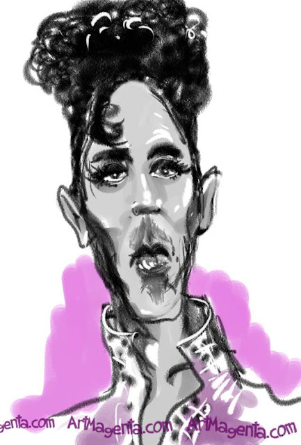 Prince caricature cartoon. Portrait drawing by caricaturist Artmagenta