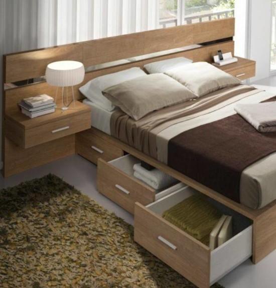 desain inspiratif tempat tidur dengan lemari di bawahnya