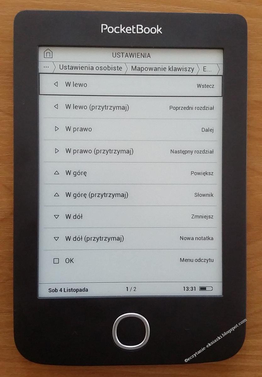 Ikony mapowania klawiszy w PocketBook Basic 3