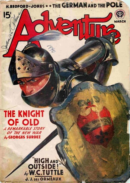 Adventure, March 1940 - cover illustration by Wesley Neff
