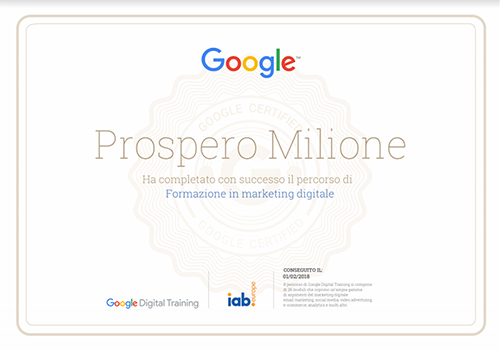 Attestato Prospero Milione Google Digital Training Marketing