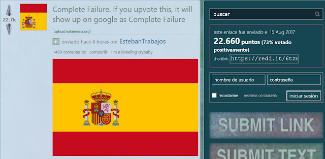 Troleo Reddit bandera de España - Complete Failure