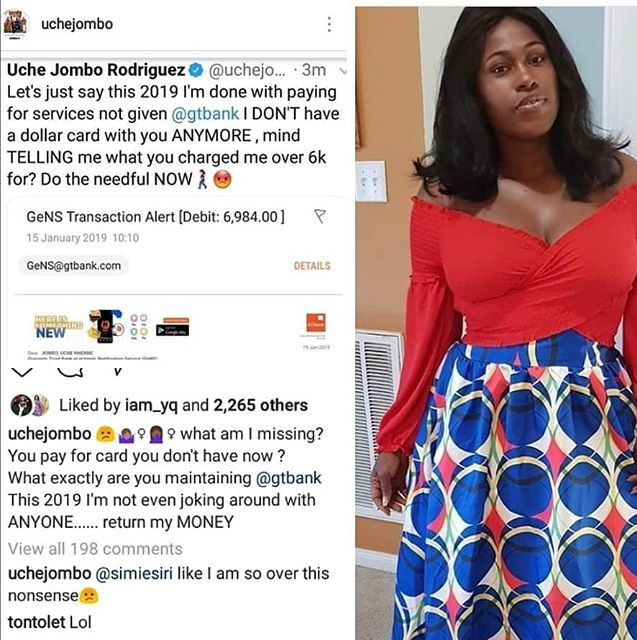 Nigeria Actress Uche Jombo Unleashes Anger At GTbank For Debiting Her Over 6k