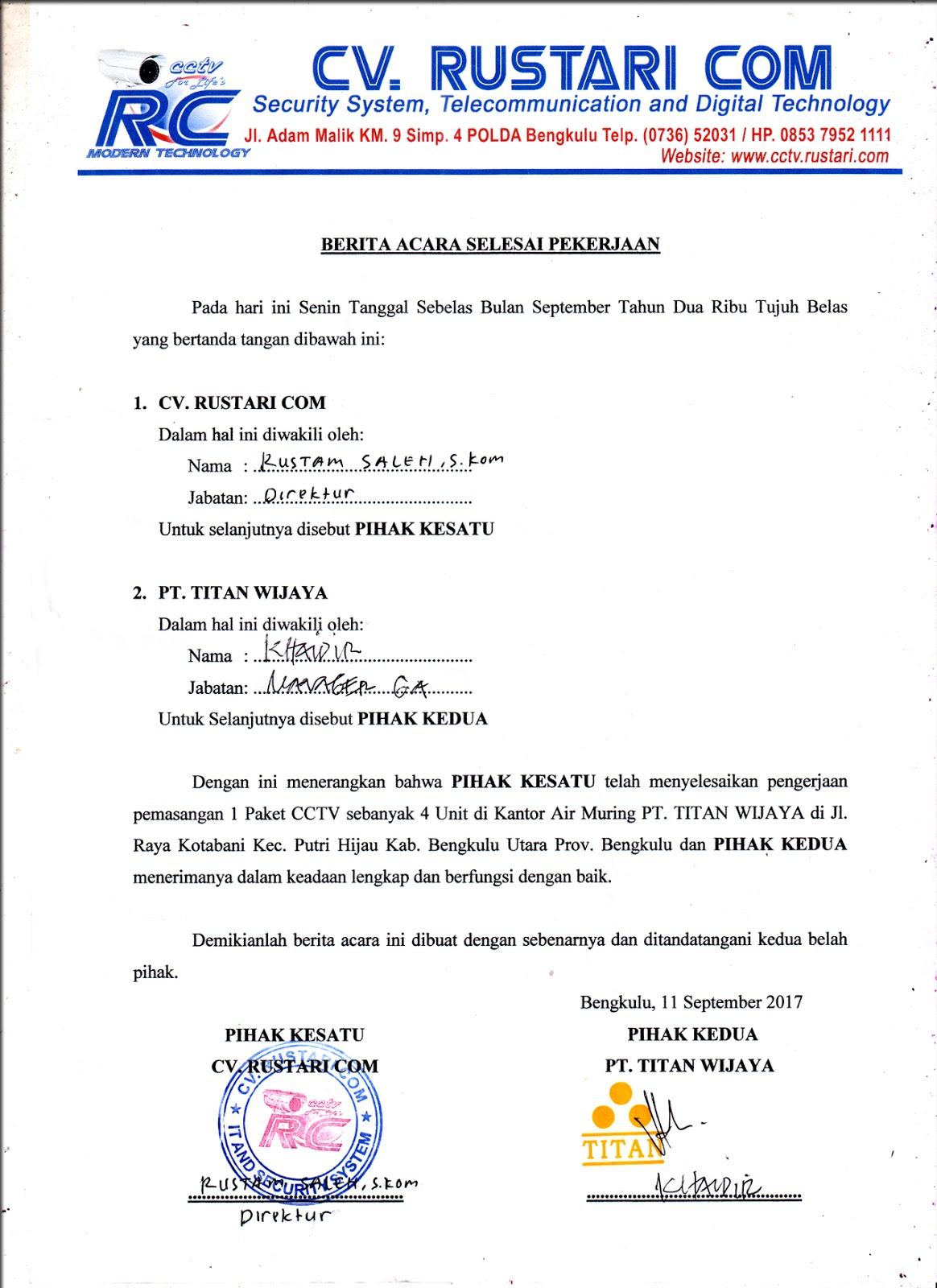 Contoh Berita Acara Serah Terima Barang Dan Jasa 2017 Kumpulan