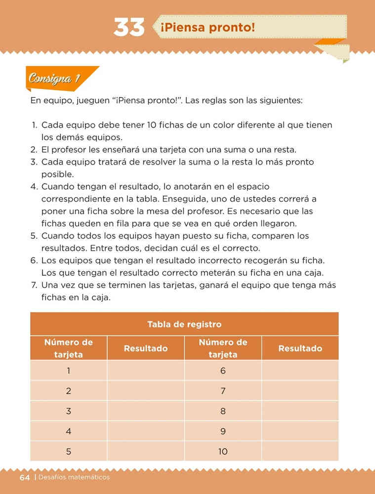 Libro de textoDesafíos Matemáticos¡Piensa pronto!Primer gradoContestado