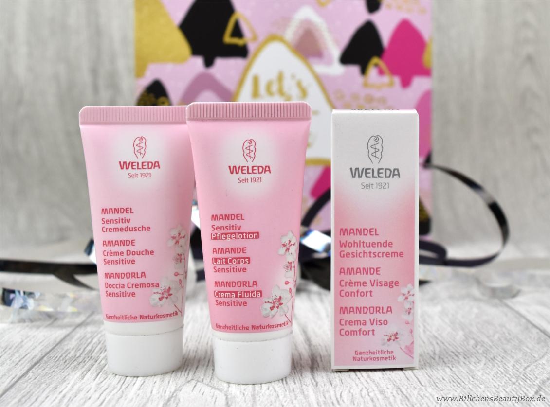Unboxing & Inhalt - Pink Box - Let's Celebrate - Weleda Mandel Cremedusche, Pflegelotion und Gesichtscreme