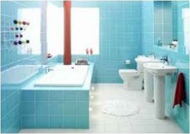 Ideas For Decorating A Bathroom With Blue Fixtures JP U2G
