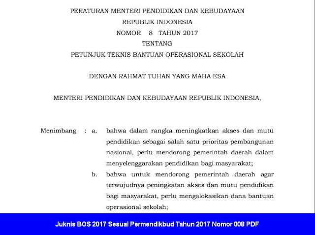 Juknis BOS 2017 Sesuai Permendikbud Tahun 2017 Nomor 008 PDF