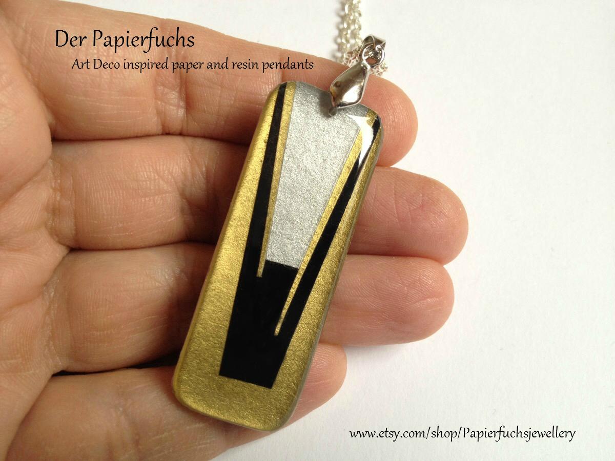 Der papierfuchs jewelry art deco inspired resin and paper pendants art deco inspired resin and paper pendants aloadofball Images