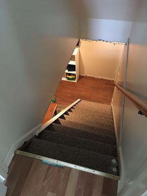 diy house renovation stair handrail light