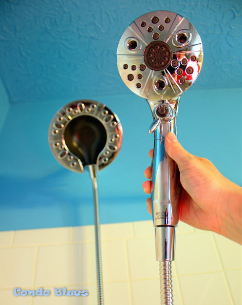 hand screw and tighten one end of the shower hose to the showerhead and the other end of the house to the hand shower
