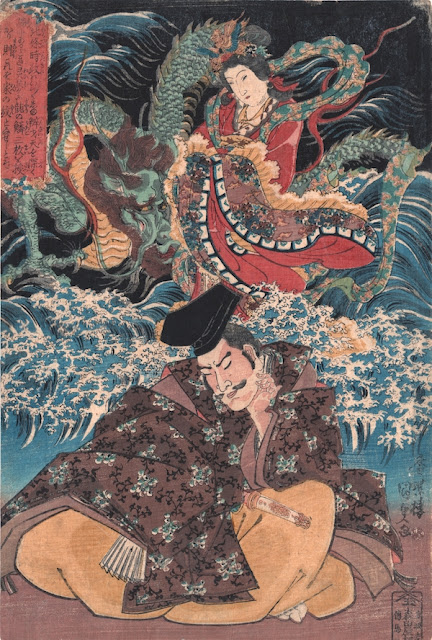 Kunisada. Lord Hojo Tokimasa dreaming Benzaiten. c. 1830.