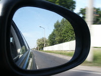 Automobile Rearview Mirror Picture Conceptualising Hindsight