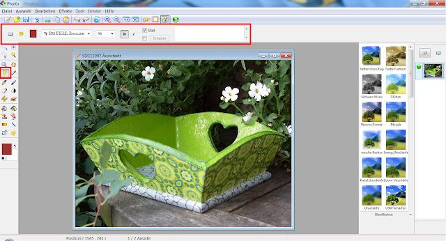 Screenshot PhoXo mit markiertem Textwerkzeug