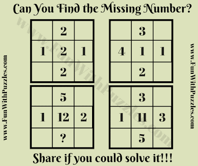 It is Math Picture Puzzle for school going teens in which your challenge is solve for the relationship between the given five numbers and then find the missing number
