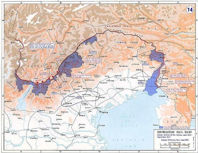 Très faibles gains territoriaux italiens pendant la Première Guerre mondiale