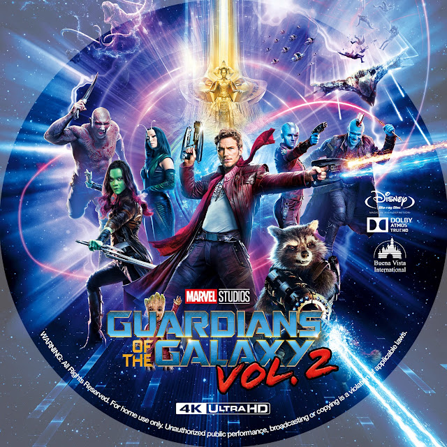 Guardians of the Galaxy Vol. 2 4K Bluray Label
