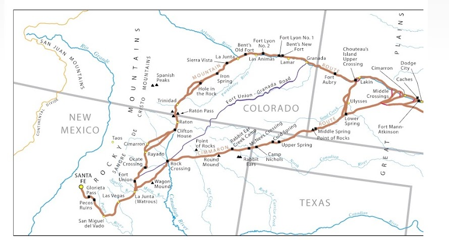 Santa Fe Trail map.