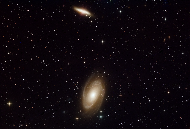"M81 and M82 Galaxies in Ursa Major Imaged on Insight Observatory's 16"" f/3.7 Reflector (ATEO-1) - Image by Senior Astronomy Class Students Aidan K. and Trever B. from Barnstable High School, Massachusetts."