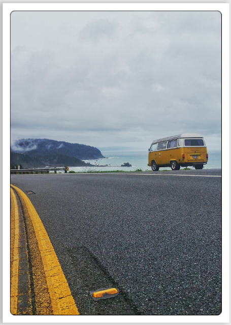 Volkswagen Type 2 Westfalia bus on Road 101 Oregon, USA