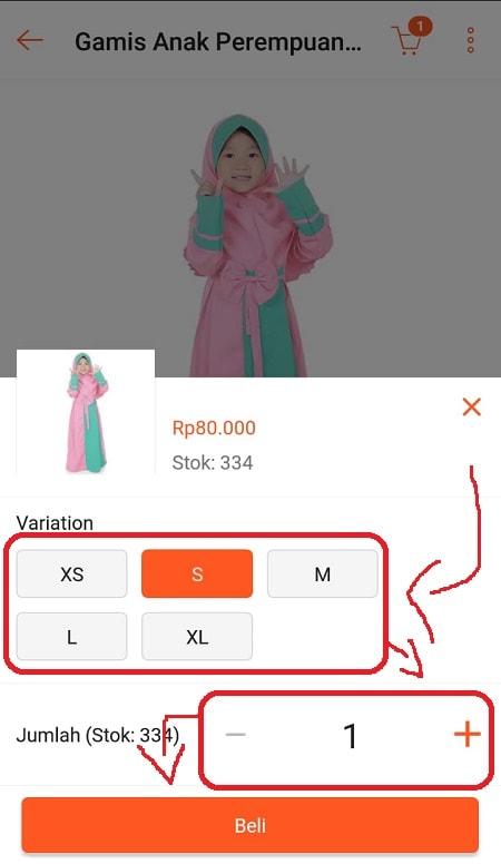 Tentukan variasi dan jumlah barang di Shopee